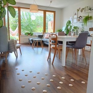 DOTS active - design barefoot floor in living room for healthy feet